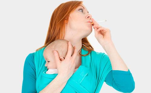 Следует отказаться от привычки курить в присутствии ребенка