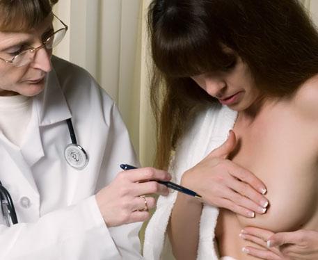 Осмотр молочных желез врачом