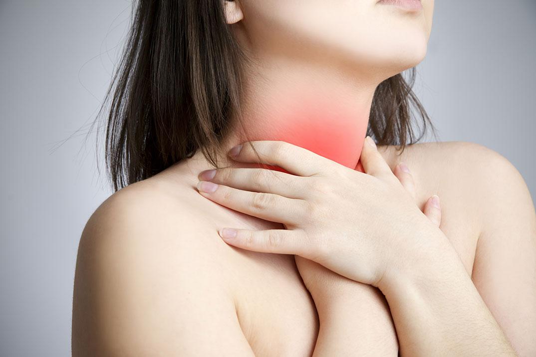 Проблема с глотанием - один из симптомов рака щитовидной железы
