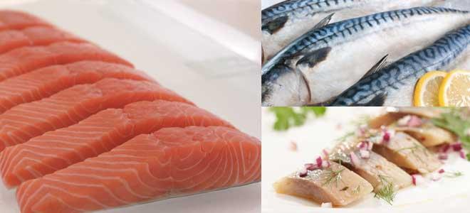 Несколько раз в неделю в рацион необходимо включать скумбрию, лосось, сельдь