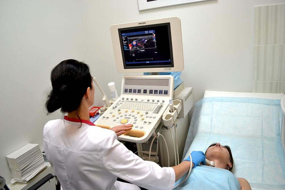 Для диагностики узелков используется метод ультразвукового  исследования